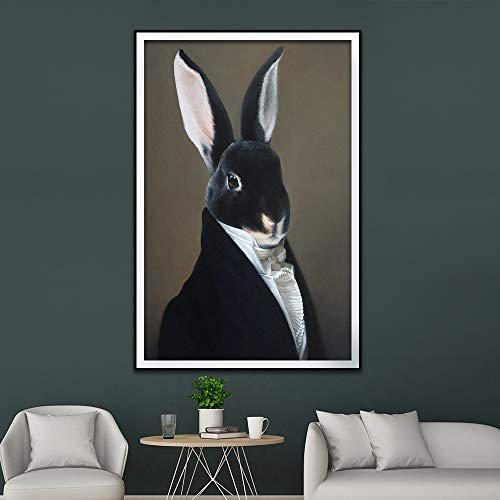 Geiqianjiumai Estilo Retro decoración del hogar Animal Lienzo Pintura Ciervo Gato Perro Retrato póster impresión nórdico Mural Dormitorio Imagen sin Marco Pintura 60x80 cm