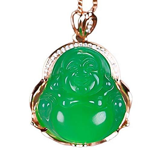 Yigedan S925 - Collar con colgante de Buda de Jade verde con acabado plateado