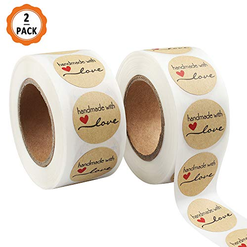 Etiqueta de papel Kraft 1000 piezas Etiquetas autoadhesivas hechas a mano con etiqueta de amor Etiqueta de regalo para hornear bolsas de regalo sobre de tarjeta boda