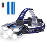 Rechargeable Headlamp, Fastras 13000 Lumen 21 LED Headlamp Flashlight with White Red Strobe