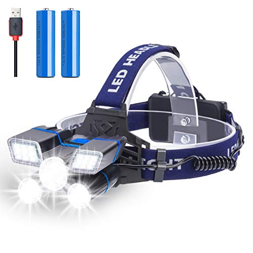 Rechargeable Headlamp, 21 LED Headlamp with Red Strobe Lights, 9 Modes USB Rechargeable Waterproof Head Lamp for Outdoor Camping Cycling