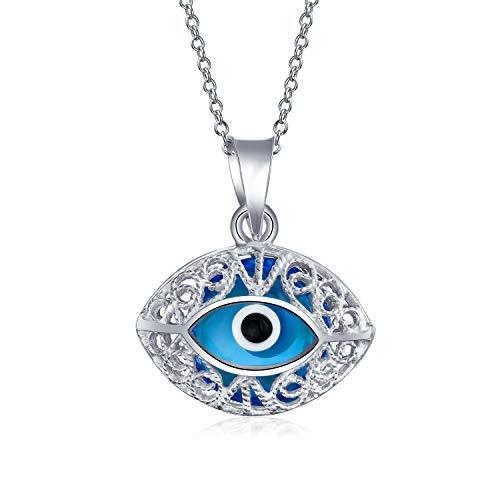 Bling Jewelry Protección Turca Filigrana Azul Vintage Style Mal De Ojo Encante Collar Pendiente para La Mujer para Adolescente 925