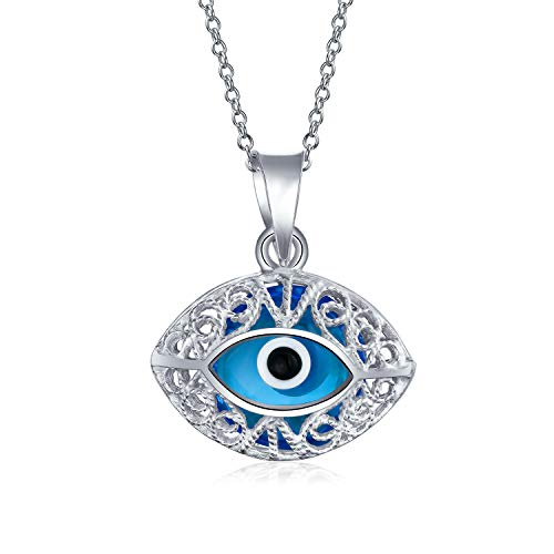 Turkish Protection Vintage Style Blue Filigree Oval Evil Eye Charm Pendant Necklace For Women Teen Murano Glass 925 Sterling Silver Made In Turkey