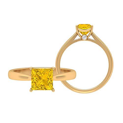 Anillo de zafiro amarillo creado en laboratorio de 1,28 CT, 6,50 mm, anillo de corte princesa, D-VSSI, anillo de oro moissanita, anillo de compromiso solitario, 10K Oro amarillo, Size:EU 67