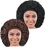 2PCS Large Satin Bonnet, Raibaubl Silk Bonnet With Elastic Soft Band, Big sleep cap For Women Hair...
