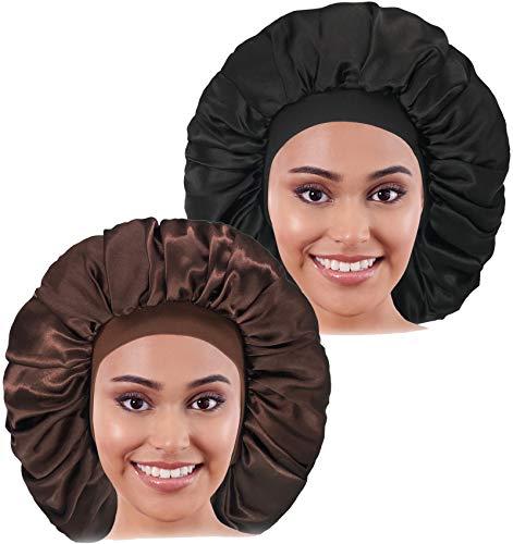 2PCS Large Satin Bonnet, Raibaubl Silk Bonnet With Elastic Soft Band, Big Bonnet For Women Hair Care, Jumbo Bonnet For Braids Natural Long Hair, Curly Hair (Black&Brown)