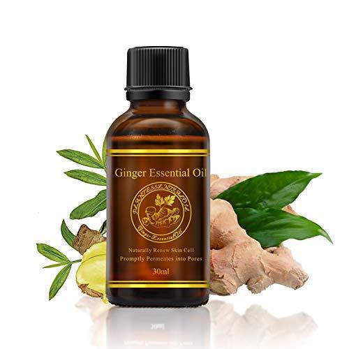 Huile Essentielle de Gingembre 100% Naturel Huiles de Massage Corporel Plantes de Drainage Lymphatique Favorise la Circulation Sanguine 30 ml