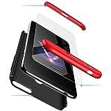 cmdkd Hülle Kompatibel mit Huawei Honor 7A,Hardcase 3 in 1 Handyhülle 360 Grad Hülle Full Cover Case Komplett Schutzhülle Glatte Bumper + Panzerglas.Rot Schwarz