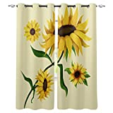 2 Piece Sunflower Window Curtain Grommet Panels for Kitchen, Bathroom & Short Windows - Abstract Sunflowers Illustration Wildflowers Branch - 52 W x 63 Inch Long Room Darkening Curtains
