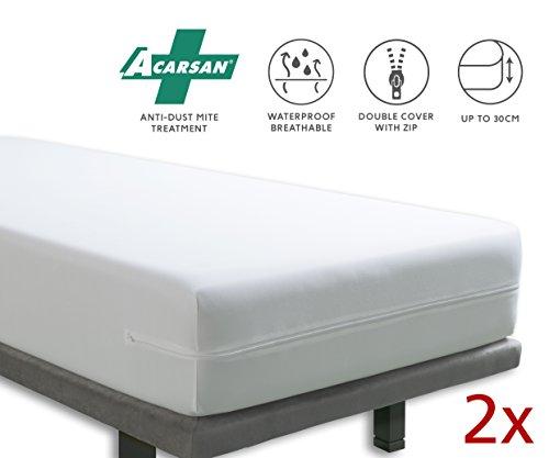 Tural -  Housse pour Matelas Anti-acariens imperméable et Respirante. Dimensions 90x200 cm