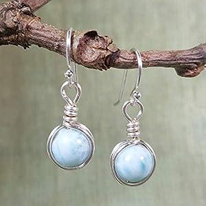 Dominican Larimar Gemstone Minimal Drop Earrings - 925 Sterling Silver