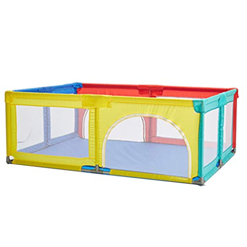 Buy Baby Playpen Bed Protective Fence with Crawling Mat,Suction Cup,Door, Baby Crawl Toddler Fence S...