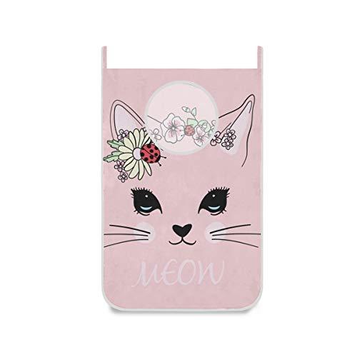 hengpai Bolsa de ropa sucia para colgar para niños, con ganchos de pared, diseño de gato rosa