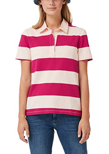 s.Oliver Damen Jersey-Poloshirt mit Blockstreifen berry/cream stripes 38