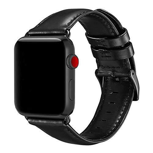 Aladrs Kompatibel mit Apple Watch Armband 42mm 44mm, Ersatzarmband mit iWatch Serie 4/3/2/1 Vintage Lederband für Apple Watch Schwarz