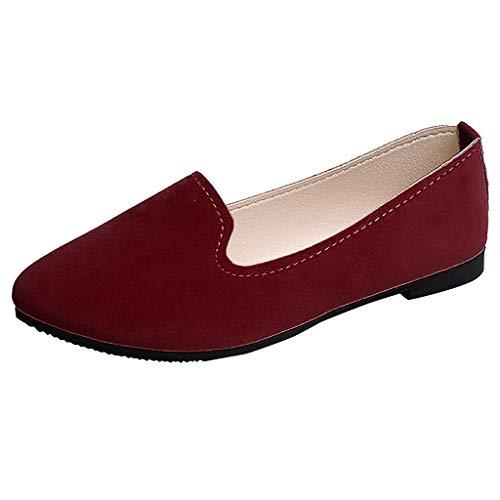 Moda Zapatos de Tacón Bajo de Color Liso para Mujer Jovencita TOPKEAL Casual Zapatos Planos de Trabajo Verde Marino 40