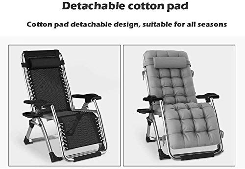 XYSQWZ Recliner Chair Folding Extension Suitable for Gardens, Courtyards Multifunctional Chair Adjustable Home Office Chair Support 200kg (Color : Black Without Pad)