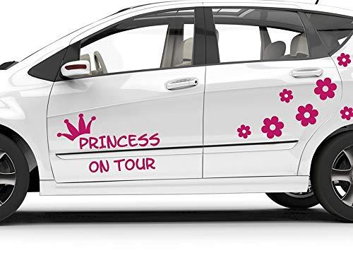 GRAZDesign Autoaufkleber Prinzessin on Tour Krone Prilblumen, Autotattoo Aufkleber 57x57cm 070 schwarz