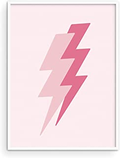 Duo Pink Lightning Poster - By Haus and Hues Bolt Poster for Trendy Pink Aesthetic Room Decor, Light Pink Wall Decor, Pink...