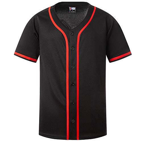 MOLPE Mens Baseball Jersey Active Team Sports Uniforms Button Down Shirts (Black-Red, L)