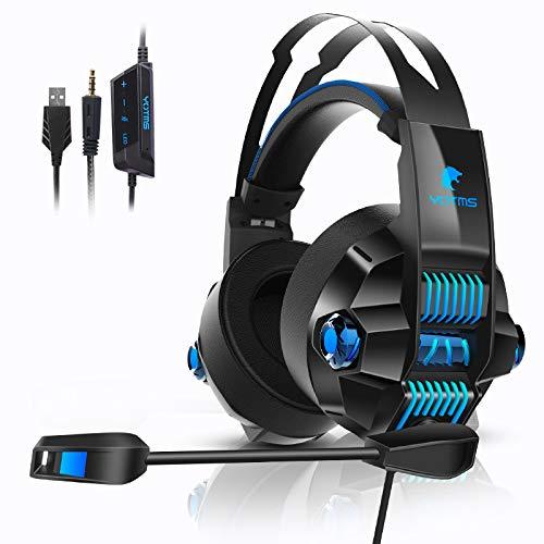 Xbox One Stereo-Gaming-Headset, YOTMS-Headset für PS4, Xbox One, PC, Notebook, 3,5-mm-Schnittstelle mit Rauschunterdrückungsmikrofon mit LED-Beleuchtung, Bass Surround - Blau