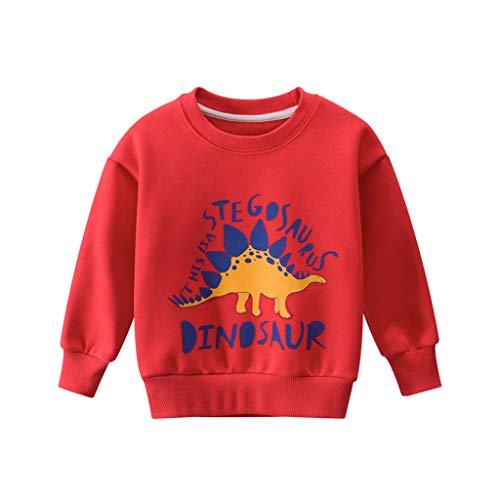 Anglewolf Kinder Dinosaurier Jungen T-Shirt Baby Langarm Baumwollmischung Sweatshirts Baby-Langarmshirt mit Rundhalsausschnitt 1-9Jahre(rot,140)