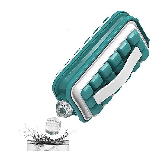 Eiswürfelbereiter, 2-in-1 tragbare, auslaufsichere kristallklare Eiskugelform, Wasserflasche mit separatem Deckel, runde Eiswürfelform, Flasche für 36 Eiskugeln, zum Kühlen von Getränken (grün)