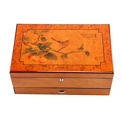 Wooden fish Caja Joyero Chino,Joyeropintura de pianomadera macizajoyerojoya de maderapendientescollarcollarcoleccióncaja de almacenaje con Mesa de Bloqueo