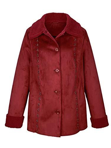 Paola Damen Lederimitatjacke mit Umlegekragen in Rot aus Veloursleder