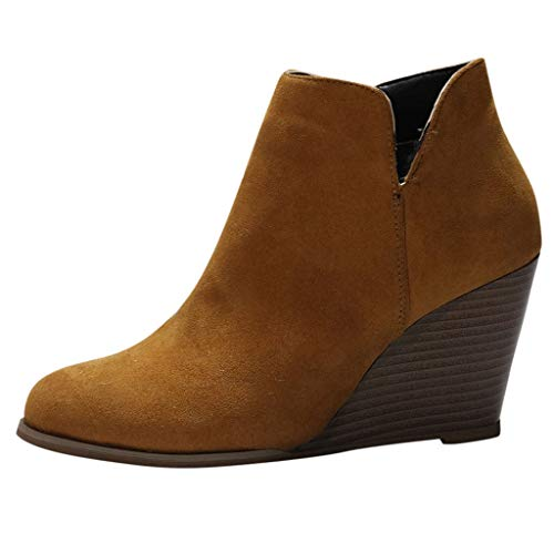 Lowest Prices! Kauneus Wedge Ankle Bootie for Women Round Toe Comfortable Suede Western Booties Cuto...