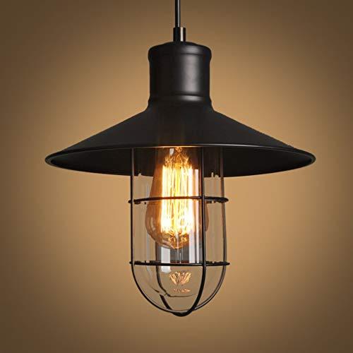 Lámparas de pared retro, lámpara de iluminación de techo interior, lámpara de techo de jaulas de vidrio de estilo retro industrial, lámpara de techo, uso 1 bombilla E27, lámpara colgante negra (tamañ