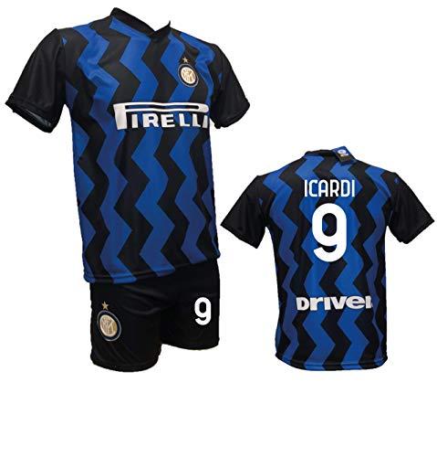 Completo Calcio Maglia Icardi Inter + Pantaloncino con Numero 9 Stampato Replica Autorizzata 2020-2021 Bambino (Taglie 2 4 6 8 10 12) Adulto (S M L XL) (10 Anni)