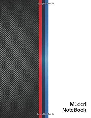 """M Sport Notebook: Note Taking Journal Layout with CheckList + Car Maintenance Log Book and Schedule, Large 8.5"""" x 11"""" 110 Pages (55 sheets) White ... and Carbon Fiber M-Sport Colors Cover Design"""