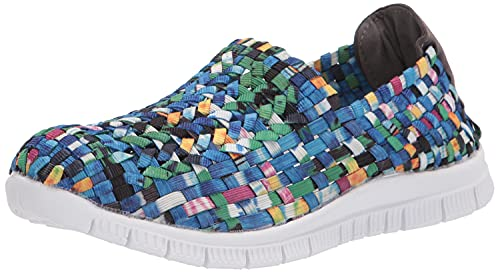 AmeriMark Women's Tori Casual Shoes - Slip-On Woven Flats with Stretchy Upper Blue Multi 8 Medium US Women