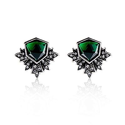 Zealmer Women Rhinestone Emerald Stud Earrings