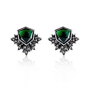 Zealmer Women Rhinestone Green Stud Earrings