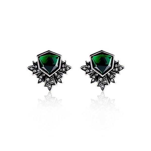 Zealmer Women Rhinestone Green Stud Earrings 3