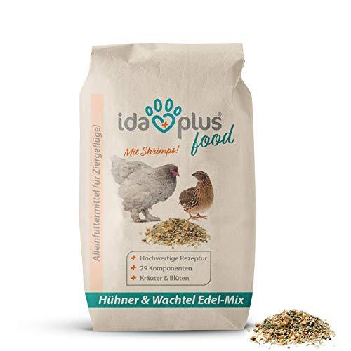 Ida Plus – Hühner & Wachtel Edel-Mix 10 Kg - Ausgewogenes Alleinfutter für Hühner & Wachteln – Ganzjahresmischung – Hühnerfutter & Wachtelfutter - mit Calcium & Vitamine für Hühnereier & Wachteleier