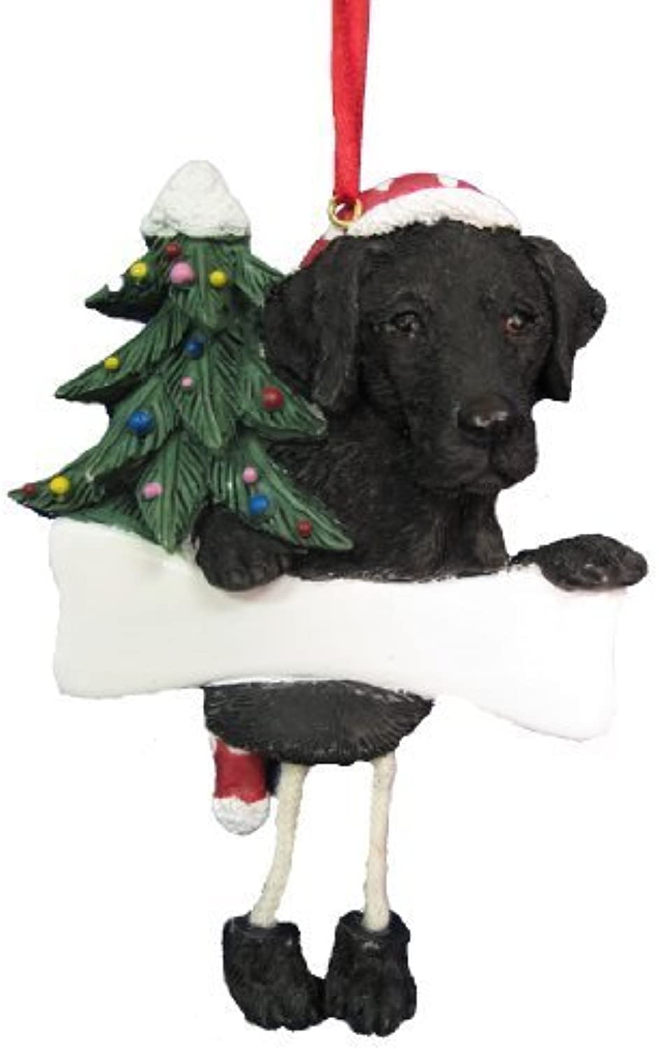 Black Labrador Ornament with Unique  Dangling Legs  Hand Painted and Easily Personalized Christmas Ornament by E&S Imports, Inc