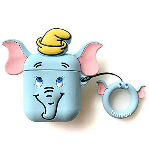 AKXOMY airpods case, Cute Cartoon Airpods Cover,Soft Silicone Blue Elephant Dumbo Case with Finger Holder for Apple Airpods with Charging Case Cute Lovely Kawaii Fun Girls Teens Boys(Elephant)