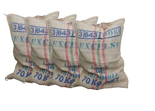 SABOREATE Y CAFE THE FLAVOUR SHOP Pack de 4 Sacos Grandes de Yute Arpillera Rafia Gruesa Natural Huerto, Cultivo, Frutas, Verduras Resistencia de 70 kilogramos Medidas 60 x 90 Centímetros