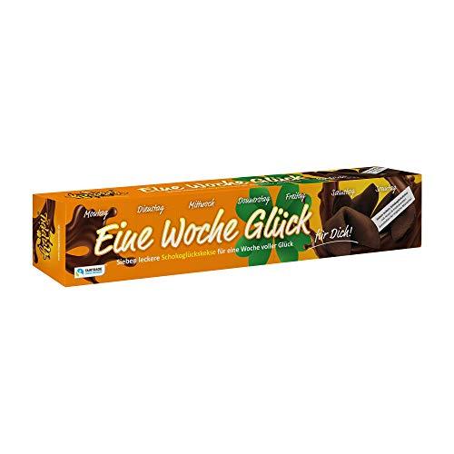 Happy Eine Woche Glück - Schoko Glückskeks Wochenkalender - 7 X Vegane Schokoladen Glückskekse - Inspirierende Botschaften, 1Er Pack (1 X 42 G)