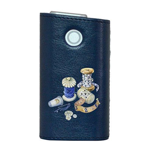 glo グロー グロウ 専用 レザーケース レザーカバー タバコ ケース カバー 合皮 ハードケース カバー 収納 デザイン 革 皮 BLUE ブルー 裁縫 道具 014163