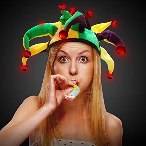 LED Light Up Mardi Gras Dragon Tail Jester Party Hat