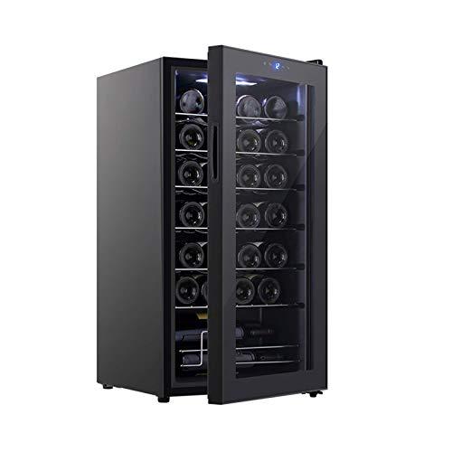 LYGACX Weinkühlschrank, 28 Flasche Freistehender Weinkühler Weinkühler Mit Einer Temperaturzone 8-18 ° C Kompressor Weinkühlschrank Einzelzone, Touchscreen, Edelstahlrahmen Schwarz 95L