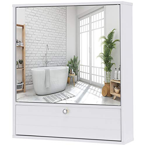 GLACER Wall Mounted Storage Cabinet, Bathroom Medicine Cabinet with Double Mirrored Doors and Adjustable Shelf, Ideal for Bathroom, Living Room, Cloakroom, 21.5 x 5.5 x 24.5 inches (White)