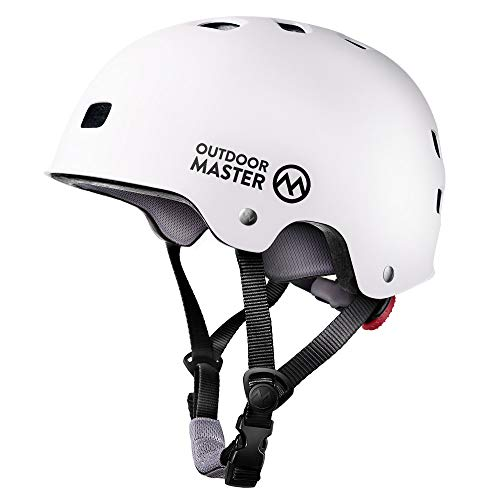 OutdoorMaster Skateboard Helmet - ASTM & CPSC Certified Lightweight Skate with Removable Lining - 12 Vents Ventilation System - for Kids, Youth & Adults - L - White
