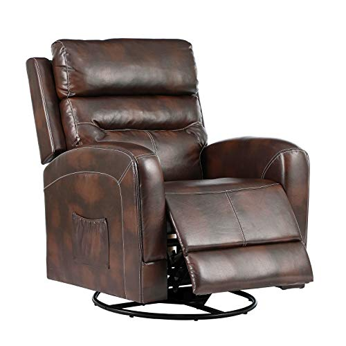 eclife Massage Recliner Chair with Lumbar Heating, 360 Degree Swivel& Rocking, Ergonomic Lounge Chair, Reclining Sofa for Living Room, Side Pocket, Remote Control