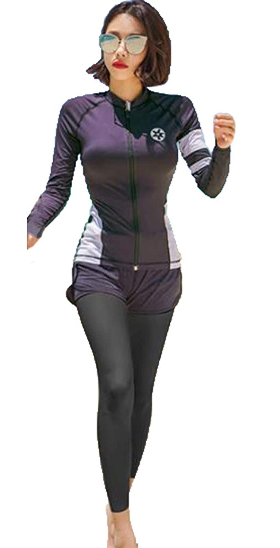 (Bidasu)フィットネス 水着 贅沢3/4点セット ラッシュガード レディース 水着 タンキニ 長袖 UVカット スポーツウェア 体型カバー セパレート 紫外線防止 吸汗速乾 水陸両用 ジム 登山 A84