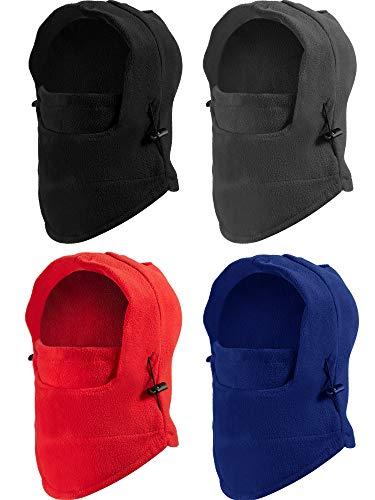 SATINIOR 4 Stücke Kinder Sturmhaube Hut Fleece Winter Ski Maske Doppelter Wärmer Gesichtsschutz Kappe (Schwarz, Rot, Grau, Blau)